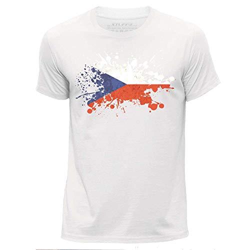 STUFF4 Herren/groß (L)/Weiß/Rundhals T-Shirt/Tschechisch Flagge Splat