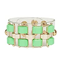 Adorning Ava Clear Plastic Chunky Cuff Bracelet with Green Stud Detail and Gold Metal Work