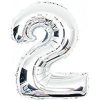 Cotigo– Globo de Aluminio Número 2 del Color Plateado para Las Fuentes de la Fiesta del Cumpleaños 45cm 1pcs