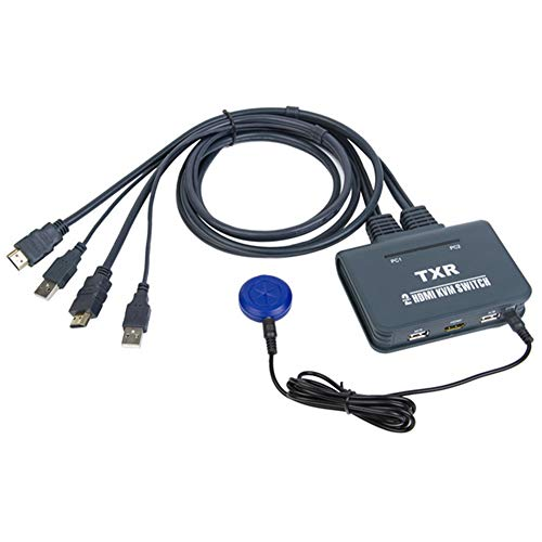 Matedepreso 2 Port USB Plug and Play with Cables KVM Switch Accessories Splitter Box HDMI(Blue) (Easy Screen Recorder)