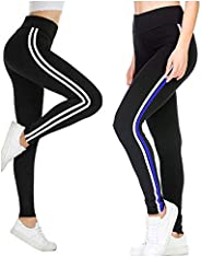 Fitg18® Gym wear Leggings Ankle Length Free Size Combo Workout Trousers | Stretchable Striped Jeggings | Yoga