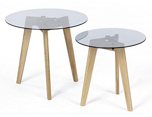 ts-ideen 2er Set Design Glastische Beistelltische rund Holz Eiche Kaffeetisch Couchtisch Nachttisch schwarzes Glas