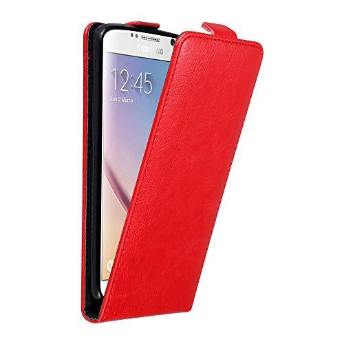 Cadorabo Hülle für Samsung Galaxy S6 in Apfel ROT - Handyhülle im Flip Design mit Magnetverschluss - Case Cover Schutzhülle Etui Tasche Book Klapp Style