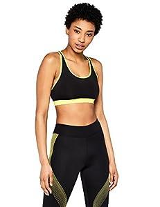 AURIQUE Sports Bra Women, Black (Black/Golden Kiwi), Large