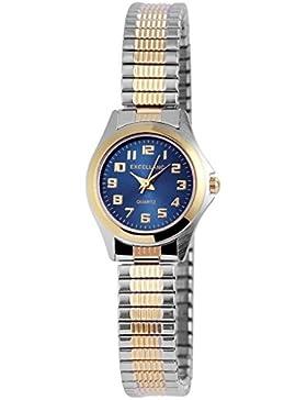 Excellanc Slim Armbanduhr Bicolor trendige Zugband Damenuhr mit Quartz Uhrwerk