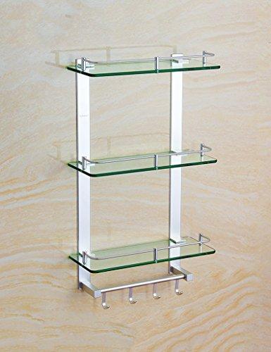 XIAOLIN-- Space Aluminium dreilagigen Glas Regal mit Rod Lagerung Rack Glas Regal Badezimmer Hardware Anhänger Badezimmer-Racks ( größe : 30cm )