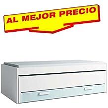 CAMA INFANTIL COMPACTA CON ESPACIO DE ALMACENAMIENTO DEBAJO DE LAS 2 CAMAS. COLOR BLANCO Y AZUL NUBE, DE MELAMINA. (202cm x 60,5cm x 99,6cm) OFERTAS DE HOGAR ¡AL MEJOR PRECIO!