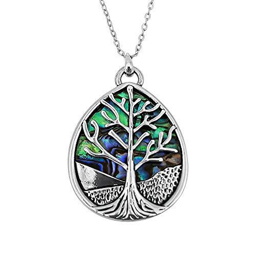 Kiara Schmuck wendbar birnenförmig, Keltischer Baum des Lebens Anhänger Halskette eingelegt beide Seiten mit bläulich grün Paua Abalone Shell auf 45,7 cm Trace Kette. Silber Farbe Rhodiniert.