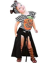 Yaohxu Disfraces de Halloween de Las niñas Infantiles Calabaza 4PCS Moda Blusas+Pantalones+ Vestido+ Diadema Largos Conjuntos de Halloween Ropa para Chicas