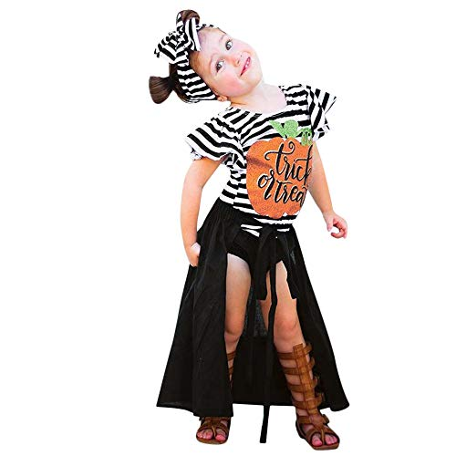 Gestreifte Kostüm Shorts - Markthym 4 STÜCKE Halloween Kleinkind Baby Kürbis Striped Top Print Rock Shorts Kleidung Sets Kinder Halloween Fliegende Ärmel Gestreifte Tops Shorts Rock 4-teiliges Set Treat