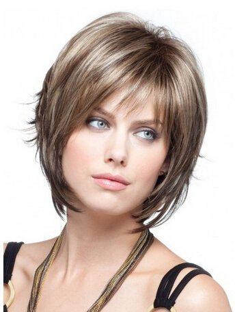 Royalfirst da donna corto biondo strati parrucche con frangia lato naturale dei capelli umani parrucche con parrucca.