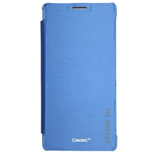 Casotec Premium Flip Case Cover for Sony Xperia M4 Aqua – Sky Blue