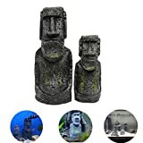 Yongse 2PCS Harz Osterinsel Statuen Set Fischbecken Ornament Aquarium Dekoration