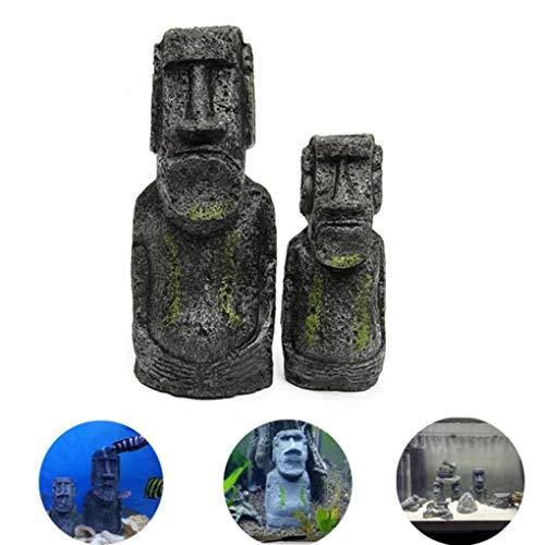 Yongse 2PCS Harz Osterinsel Statuen Set Fischbecken Ornament Aquarium Dekoration (Easter Island Aquarium)