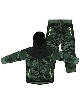 ZipZappa Chándal Estilo Militar Camuflaje, para Niño, Chico, Sudadera con Capucha y Pantalones, Lote de 2 Piezas