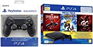 PS4 1TB Slim Bundled with Spider-Man, GTaSport, Ratchet & Clank And PSN 3Month&Dualshock 4 Wireless Co