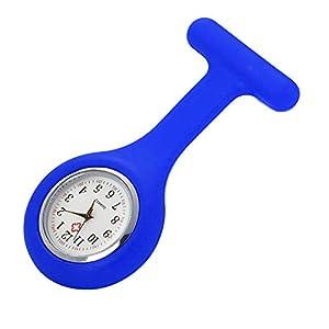 Armbanduhr Damen Ronamick Silikon-Krankenschwester-Uhrenbrosche-Tunika-Taschenuhr mit freier Batterie Arzt medizinisch Armbanduhr Armband Uhr Uhren (Blau)