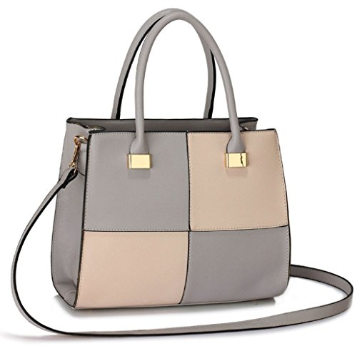41Kyxg6txFL - BEST BUY #1 Ladies Women's Fashion Designer Large Size Quality Chic Tote Bags Handbags CWS00153L CWS00153M (CWS00153M-GREY/NUDE) Reviews and price compare uk