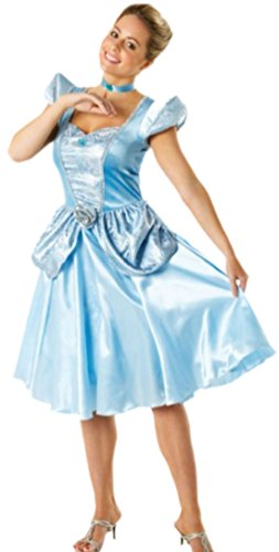 Faschingsfete Damen Karnevalskomplettkostüm Prinzessin Kleid, S, Hell-Blau