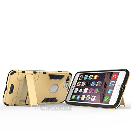 iPhone 8 Plus / 7 Plus Coque, Cocomii Iron Man Armor NEW [Heavy Duty] Premium Tactical Grip Kickstand Shockproof Hard Bumper Shell [Military Defender] Full Body Dual Layer Rugged Cover Case Étui Houss Gold