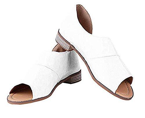 LIGGZ Frauen Casual Sandalen atmungsaktive PU-Leder Espadrilles für Frauen Open Toe Verstellbarer Knöchelriemen Keil Hausschuhe für den Sommer - Open-toe Espadrilles