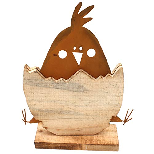 Hendriks Küken im Ei, schöne Oster-Deko aus Metall und Holz, zum Stellen, 29x21cm Frühling Ostern