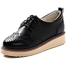 Zapatos De Plataforma para Mujer Oxford Brogue Lace Up Punta Redonda Casual Sneaker Buckle Ocio Caminar