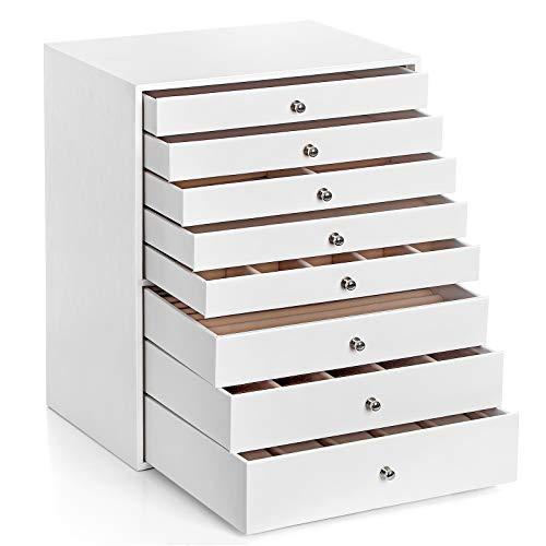 SONGMICS Schmuckkasten, Schmuckschatulle mit 8 Schubladen, Schmuckkästchen, ideal für Ketten, Ohrringe, Sonnenbrillen, Armbänder, Uhren, weiß JBC11WT