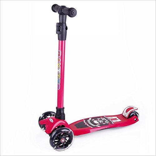 BAYTTER Kinderscooter Dreirad Kinderroller Roller Scooter LED Blinken für Kinder ab 3 Jahren, in 4 Höhen verstellbar und bis 100kg belastbar, mit PU Rädern(Muster 1/Rot)