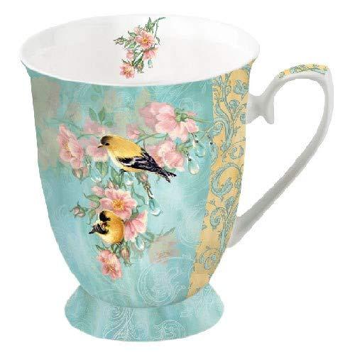 Porzellantasse Scarlett Petrol Vogel Meise Kohlmeise Blumen Becher Bone China 0,25l Kaffeebecher Henkelbecher