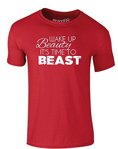 Brand88 - Wake Up Beauty, It's Time To Beast, Erwachsene Gedrucktes T-Shirt Rote/Weiß