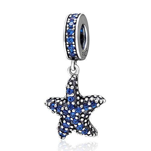 Soulbead blu ciondolo a forma di stella marina in argento sterling 925con zirconi per braccialetti stile europeo ocean