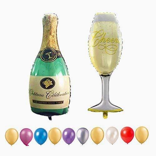 Beito Abschluss-Ballons, 40 '' Riesen Champagner Flasche und Becher Aluminiumfolie-Ballon für Hochzeit, Jahrestag Geburtstagsfeier Decoration.With 10 PC-12 '' Random Balloons For Free