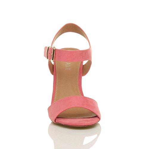 Damen Hoch Absatz Party Elegant Schnalle Freizeit Riemchensandalen Schuhe Größe Pastellton Korallenrot Rosa Wildleder