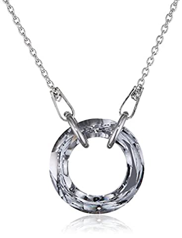 Clear (White) Karma Circle Necklace for Women Made with Swarovski Crystals and Sterling Silver 925,16