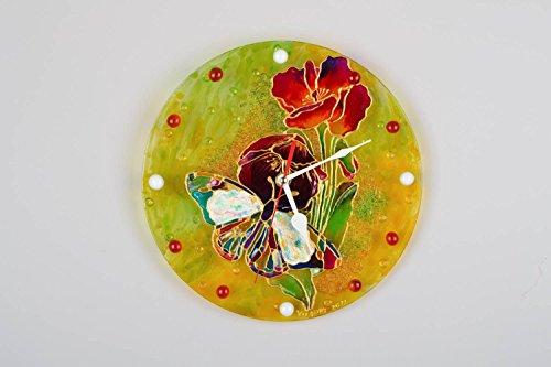 Bunte Wanduhr aus Glas 'Mohnblumen'