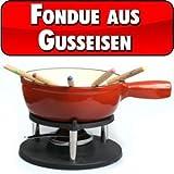 Big BBQ Gusseisen Fondue Käsefondue Emaille beschichtet rot -
