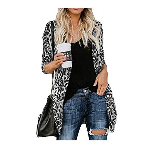 iHENGH Damen Herbst Winter Bequem Lässig Mode Frauen Langarm Leopard Print Mode Mantel Blusen T Shirt Tank Tops(M,Grau) -