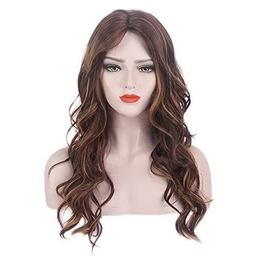 mbre Braun Zwei Ton Gewellt Lockig Gelockt Lange sexy wig für Frauen Alltag Cosplay Kostüm Karneval Halloween ()