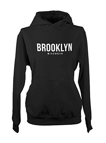 Brooklyn Wisconsin Dane Green County States Femme Capuche Sweatshirt Noir