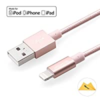 [Apple MFi Certified] Yellowknife High Quality 3.3ft/1m Metal Nylon Fabric Braided Sync Charge Lightning Cable Cord for iPhone 7 / 7 Plus / 6 / 6s / 6 Plus / 6s Plus, iPhone 5s / 5c / 5, iPad 4 / Mini / Air, iPod Touch 5th Gen, Nano 7th Gen (Durable-Extra Strong, Tangle Free) Pink