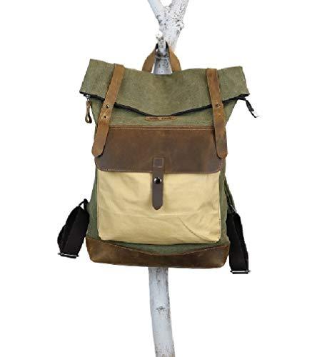 Canvas Rucksack, Ketty Long Ben Handgefertigt Vintage Herren Damen Büffel Leder Einzigartiges Design Trekking Sport Uni Schule Wandern Bergsteigen Outdoor Laptop (jägergrün)