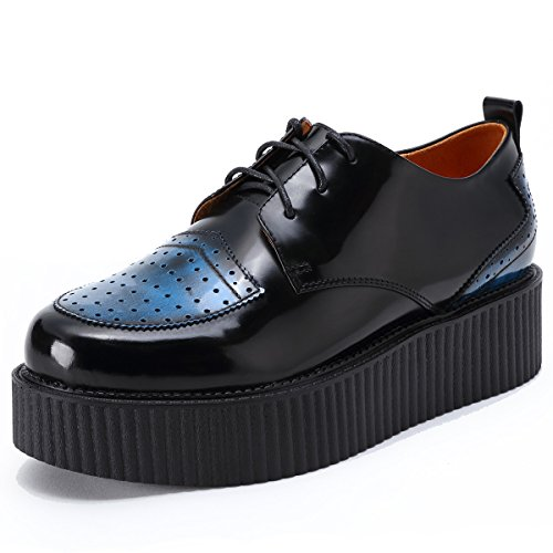 RoseG Herren Leder Schnürsenkel Plateauschuhe Platform Creeper Schuhe Schwarz Size 43