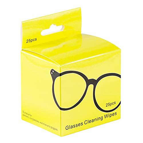 ZAK168 Vorbefeuchtete Linsen-Reinigungstücher, 25 Stück Brillenreiniger, Bildschirmtücher für Kamera, Telefon, Computer, LCD-Bildschirm, unabhängig verpackt, gelb, Free Size
