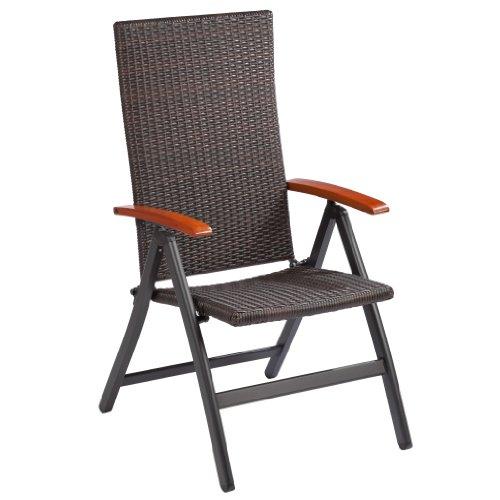 Ultranatura serie palma - sedia pieghevole in polyrattan con braccioli, 110 x 62 x 58 cm