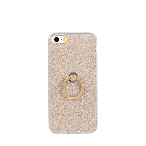 JIALUN-Telefon Fall Luxus Bling Sparkle Style Case, Soft TPU Flexible Glitzer Rückentasche mit Fingerring Stand für iPhone 5 & 5s & SE ( Color : Black ) Gold