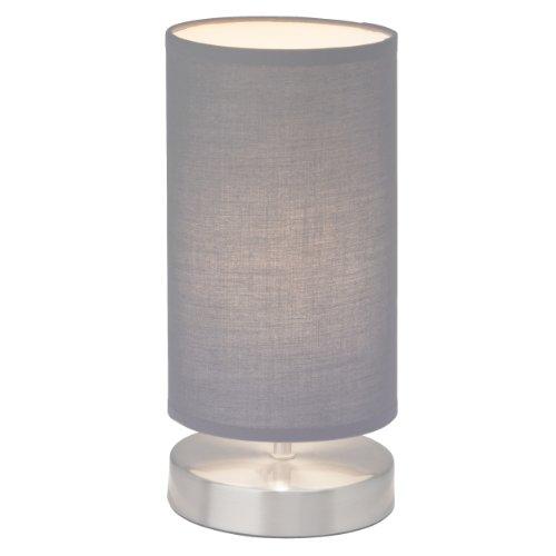 Clarie - Lampada da tavolo con paralume in tessuto, 1x E14, max 40 W, in ferro e tessuto moderno grigio