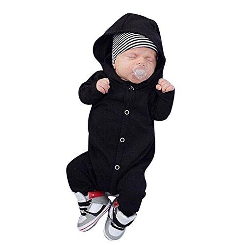 BeautyTop Neugeborene Baby Mädchen Jungen Baumwolle mit Kapuze Strampler Overall Pyjamas Kleidung Outfits (70/0-6 Monate, Schwarz) (Jungen Baby Winter Kleidung)