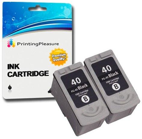 2 SCHWARZ Druckerpatronen für Canon Pixma iP1600 iP1800 iP1900 iP2200 iP2500 iP2600 MP140 MP150 MP160 MP170 MP180 MP190 MP210 MP450 MP460 MX300 MX310 | kompatibel zu PG-40 (PG40) -