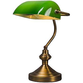 Relaxdays 10016607 lampe de bureau banquier avec abat jour - Lampe de bureau banquier laiton verre vert ...